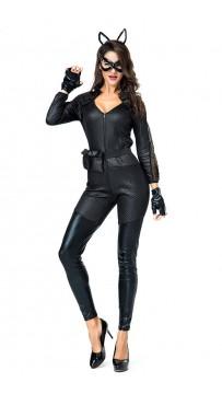 Halloween Black Cat Burglar Costume Fierce Zipper Jumpsuit