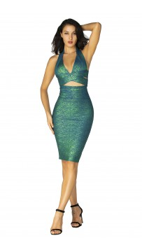 Herve Leger Bandage Dress Metallic Halter V Neck Backless Green Gold