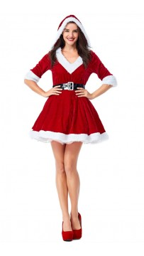 Christmas Costume Velvet Red V-neck Bubble Hooded Dress