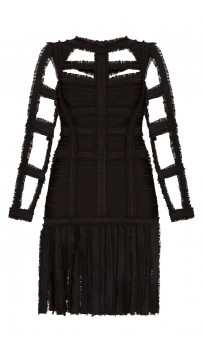 Herve Leger Brielle Chiffon Detail Dress Black