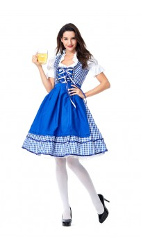 Womens Dress Blue Plaid Oktoberfest Fraulein Costume