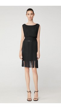Herve Leger Bandage Dress Tank Tassels Black