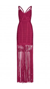 Herve Leger Raspberry Nadia Lattice Draped Fringe Dress