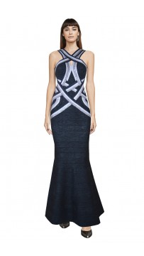 Herve Leger Bandage Dress Long Halter Neck Metallic Black