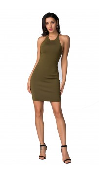 Herve Leger Bandage Dress Halter Neck Backless Green