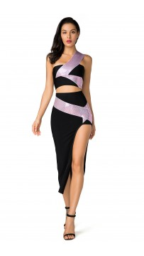 Herve Leger Bandage Dresses Long Gown One Shoulder Two Piece Black