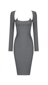 Grey-Black Long-Sleeved Skinny Sexy Dress