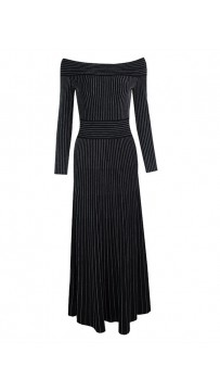 Shoulderless Long Sleeve Black Striped Evening Dress