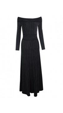 Shoulderless Long Sleeve Black Striped Evening Dress
