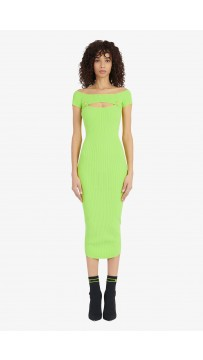 Bm Midi Length Lime Green Knit Openwork Dress