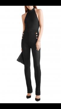 Herve Leger Bandage Dress Jumpsuit Halter Neck Buttons Black