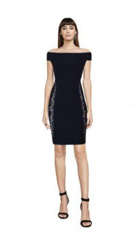 Herve Leger Bandage Dress Off Shoulder Cut Out Black