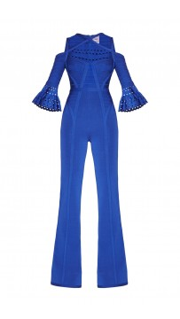 Herve Leger Vivica Royal Blue Bandage Wide Leg Jumpsuit