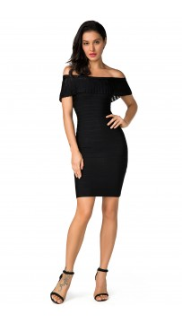 Herve Leger Bandage Dress Off Shoulder Flouncing Black