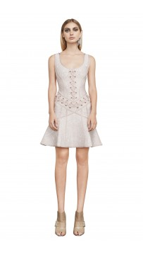 Herve Leger Katrina Lace-Up Grommet Dress