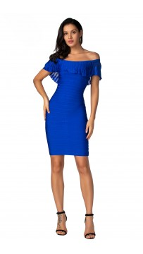 Herve Leger Bandage Dress Off Shoulder Flouncing Blue