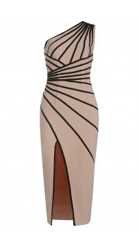 Ladies One-Shoulder Striped Sexy Split Dress