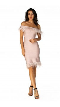 Herve Leger Ostrich Feather-Trimmed Bandage Dress