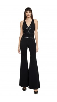Herve Leger Bandage Jumpsuit V Neck Black
