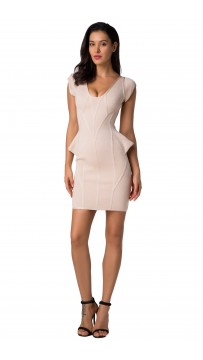 Herve Leger Grey Cap Sleeve Bandage Dress