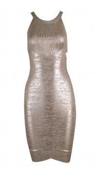 Herve Leger Open-Back Scoop-Neck metallic Bandage Dress