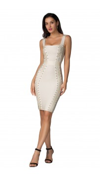 Herve Leger Bandage Dress Tank Sequined Knee Length Silver