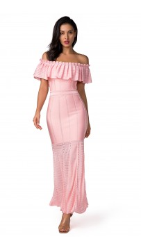 Herve Leger Bandage Dress Long Gown Off Shoulder Ruffled Pink