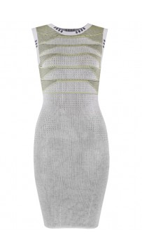 Herve Leger Bandage Dress Jacquared O Neck Tank Grey
