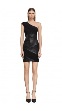 Herve Leger Bandage Dress One Shoulder Foil Black