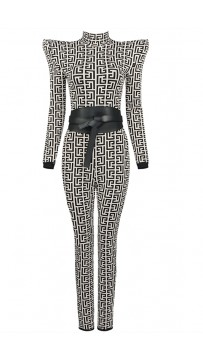 Long Sleeve Bicolor Jacquard Jumpsuit