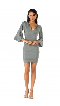Herve Leger Bandage Dress Long Sleeve Flared V Neck Grey