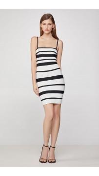 Herve Leger Striped Strappy Mini Dress - Alabaster Black Combo