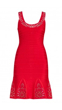Herve Leger Blakely Multi-Eyelet Dress Lipstick Red