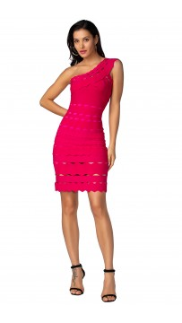 Herve Leger Bandage Dress One Shoulder A Line Lace Rose