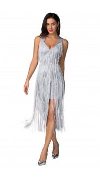 Herve Leger Silver Fringe Midi Dress