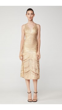 Herve Leger Foiled Midi Dress