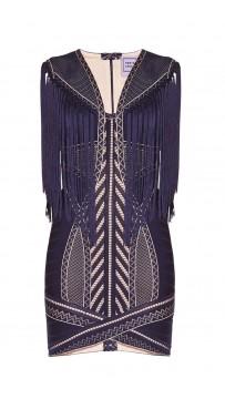 Herve Leger Renata Pointelle Crochet Fringe Dress