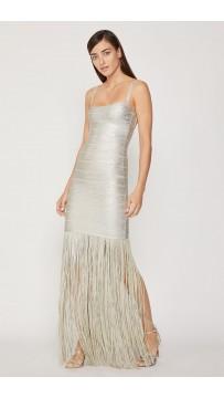 Herve Leger Woodgrain Foil Print Fringe Gown