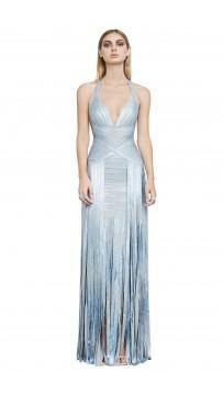 Herve Leger Rabekah Woodgrain Foil-Print Bandage Gown