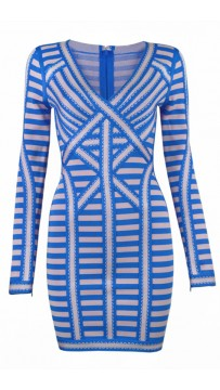 Herve Leger Bandage Dress Long Sleeve  Blue Apricot