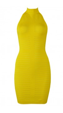 Herve Leger Bandage Dress Halter Neck Backless Yellow