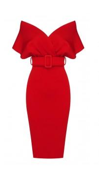 Off Shoulder V-Neck Red Bandage Dress