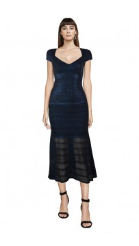 Herve Leger Bandage Dress Foil Black Cap Sleeve Flared