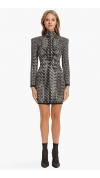 Short Bicolor Jacquard Knit Dress