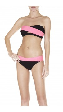 Herve Leger Bandage Dresses Strapless Bandage Bikini Black Pink Bicolor