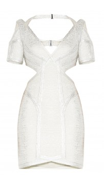 Herve Leger Desiree Foil Crochet Jacquard Dress