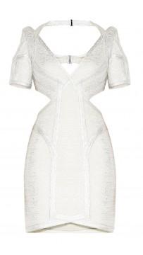 Herve Leger Desiree Foil Crochet Jacquard Dress