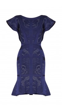 Herve Leger Alessia Rose Plaited Jacquard Dress