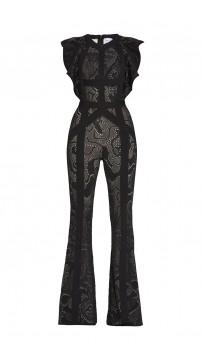 Herve Leger Kasie Rose Multi-Texture Plaited Jacquard Jumpsuit