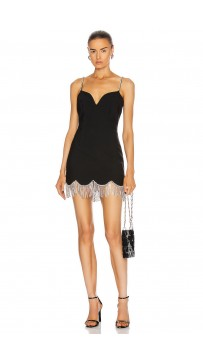 Sleeveless Tassel Crystal Black Bodycon Bandage Dress